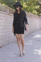 black dress - black hat - black leather jacket - silver two toned heels