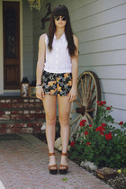 carrot orange floral shorts - white lace shirt - brown wedges