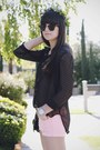 Bubble-gum-neon-shorts-black-polka-dots-blouse