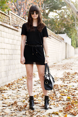 black bow belt - black ankle strap boots - black dress