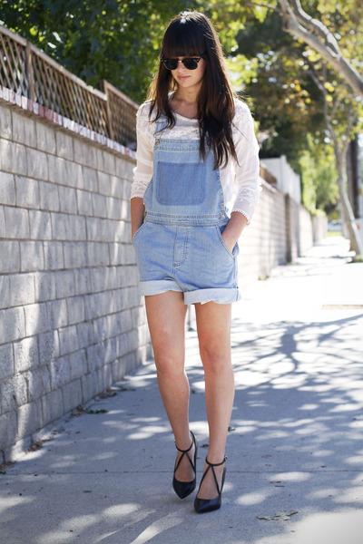 white beaded shirt - black strappy pumps - light blue overalls romper