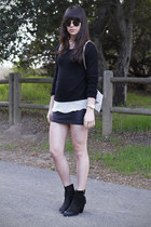 black boots - white mesh shirt - tan backpack bag