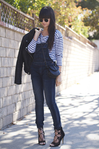 navy overalls free people jumper - black shoemint heels