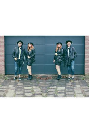 black H&M shoes - black faux leather H&M jacket