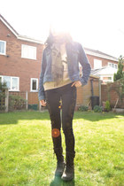 blue denim Timberland jacket - dark brown Rockport boots - black Topshop jeans