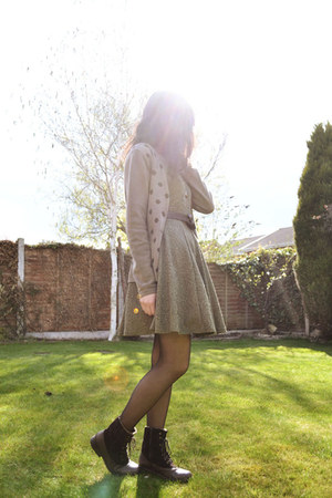 olive green jacquard skater Primark dress - dark brown Clarks boots