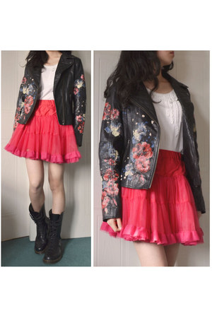 black River Island jacket - black doc martens boots