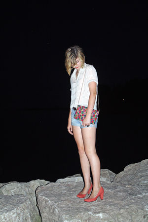 red BDG shoes - blue unknown brand shorts - red unknown brand purse - black unkn
