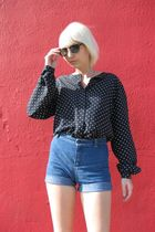 blue liz claiborne blouse - blue Dittos shorts - black fake Ray Ban sunglasses