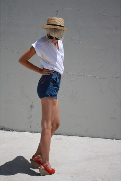 white vintage Judy Bond top - red wedges C Ronson shoes - beige BDG hat