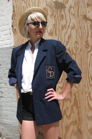 beige BDG hat - blue christian dior blazer - white Judy Bond blouse - black Gues