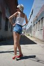 White-vintage-from-castaway-vintage-top-blue-levis-shorts-red-c-ronson-shoes