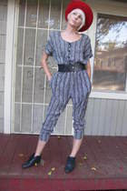 gray vintage from Castaway Vintage top - gray vintage pants - red flea market in