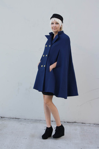 navy vintage cape Zim Stra coat - black lace up wedges Forever 21 shoes