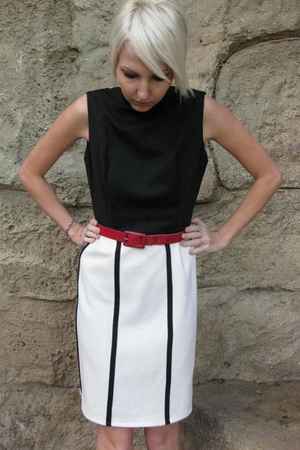 black vintage from Castaway Vintage dress - red vintage belt