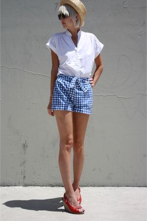 beige BDG hat - white Judy Bond shirt - blue Sears Jr Bazaar shorts - red C Rons