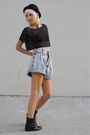Black-vintage-top-blue-vintage-shorts-black-joan-david-boots-black-vintage