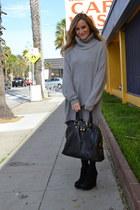 heather gray knit Zara dress - black YSL bag - black suede Steve Madden wedges