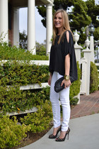 black Joie top - white J Brand jeans - black Chanel bag - black Jimmy Choo heels