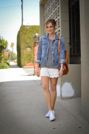 denim JCrew jacket - Monow shirt - linea pelle bag - lace Mossimo shorts