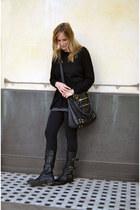 black Fiorentini  Baker boots - black H&M sweater - black Splendid leggings