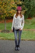 crimson felt fedora Target hat - black unisa boots - charcoal gray Edyson jeans
