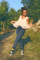 navy denim Oasis jeans - light pink Primark shirt