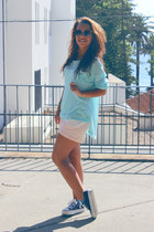 light pink Bershka shorts - sky blue H&M cardigan
