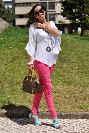 pink Prada sunglasses - hot pink Zara jeans - dark brown Louis Vuitton bag