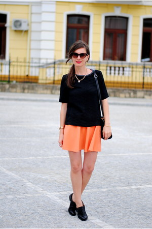 black Zara blouse - black Zara flats