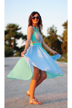 Sheinside dress - accessories - PERSUNMALL earrings - aquamarine accessories