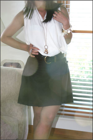 white unbranded top - black JCrew skirt - black unbranded belt - gold Walmart ac