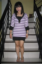 diy Purplegirl earrings - striped dress - Havaianas sandals - XOXO watch