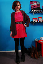 black doc martens boots - pink vintage dress - black Forever 21 leggings