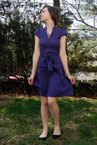 purple H&M dress - silver my grandmas bracelet - silver moms necklace - black Ki