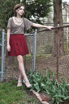 light brown asos top - silver thrifted necklace - red Urban Outfitters skirt - g