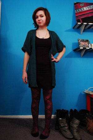 green silence and noise cardigan - black H&M dress - purple BDG tights - black K