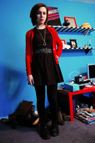 red H&M cardigan - black volcom dress - black flea market belt - black Forever 2