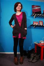 gray BDG cardigan - purple Billabong dress - black Forever 21 leggings - brown d