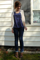 white vintage cardigan - blue Cooperative top - blue Delias jeans - silver antiq