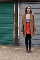 light brown modcloth coat - brown Topshop shoes - black Forever 21 leggings