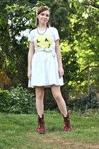 red doc martens boots - white Target dress - off white Wildfox t-shirt - silver