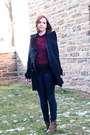Brown-urban-outfitters-boots-navy-forever-21-coat-blue-madewell-jeans