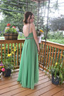 green vintage dress - silver firework-esque vintage earrings