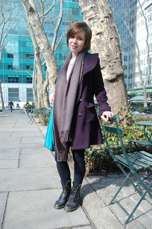 blue Forever 21 coat - gray unknown scarf - pink Victorias Secret top - white Fo