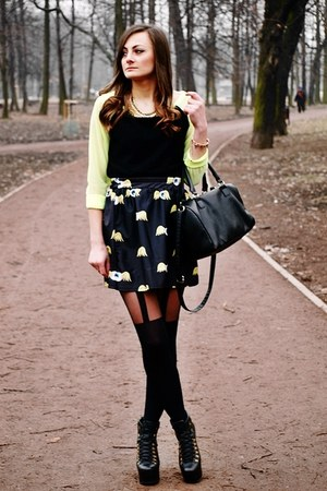 lime green Romwecom skirt - black Jeffrey Campbell boots - black Gatta tights
