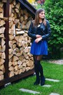 Black-pearlz-boots-black-pull-bear-jacket-blue-stradivarius-skirt
