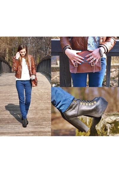 black leather Jeffrey Campbell boots - brown eco leather Zara jacket