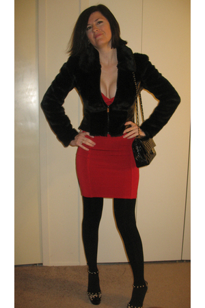 red Bebe dress - black Bebe jacket - gold Michael Kors shoes - black Chanel purs