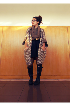 dark brown Zara coat - black Hunter boots - black H&M dress - black H&M belt